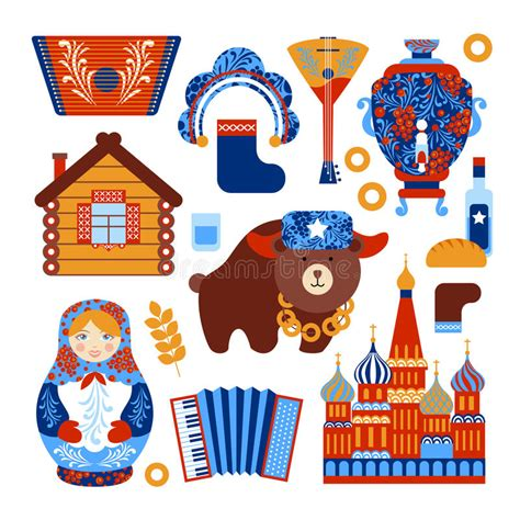 Russia Travel Set Stock Vector Illustration Of Alcohol