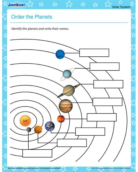 order the planets solar system worksheets for kids