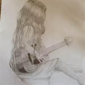 Girl Playing Guitar Drawing