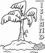 Island Coloring Coloringway Colorings Tree Nature sketch template