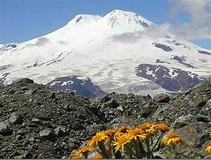 Mount Elbrus the highest mountain in Europe. The western ...