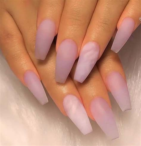 matte lilac  marble effect  long coffin nails