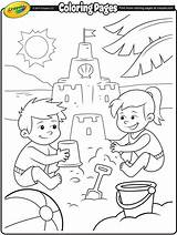 Coloring Beach Crayola Fun Pages Sand Castle Colouring Summer Print Building sketch template