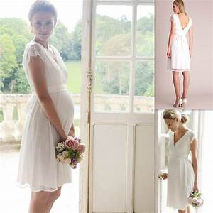 maternity wedding gowns white lace cap sleeves v neck knee With maternity wedding dress with sleeves
