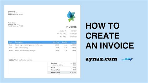 create  invoice youtube
