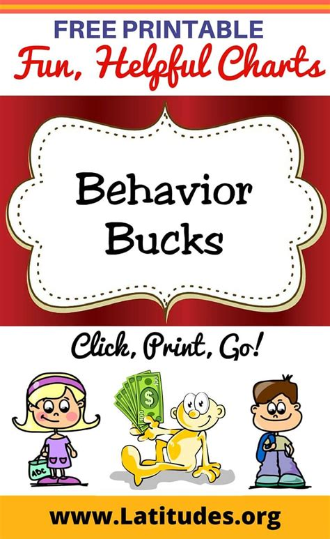 Behaviour Modification Rewards by Free Printable Behavior Bucks For Behavior Charts