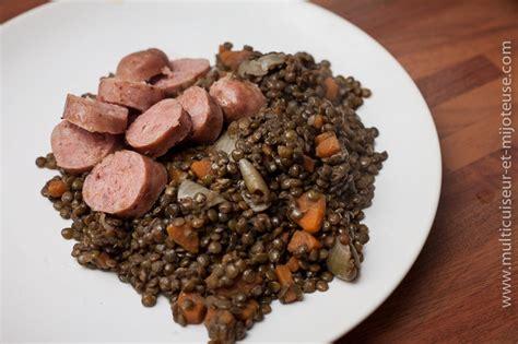 cuisine lentilles vertes recette de saucisses lentilles au multicuiseur recettes faites et adoptees