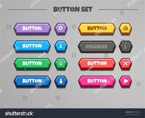 buttons set vector gui assets stock vector