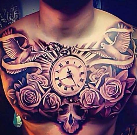 tattoo doves clock  roses chest men tattoos pinterest flower  tattoo  clock
