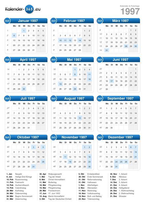 Sie können die vorlage dieses kalenders mit ihren freunden/familie usw. Kalender 1997