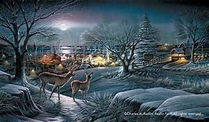 Terry Redlin HOMETOWN Print Deer and Town in Holiday