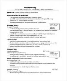 electrician resume sle format sle electrician resume template 7 free documents in pdf word