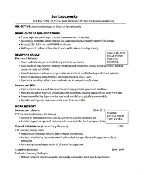 Electrical Apprentice Resume Exles by Sle Electrician Resume Template 7 Free Documents