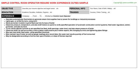 Room Operator Resume by Room Operator Resume Sle