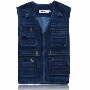Casual 100% Cotton Mens Blue Jean Vest Jackets  Man Denim Sleeveless Coat  Many Pockets ...