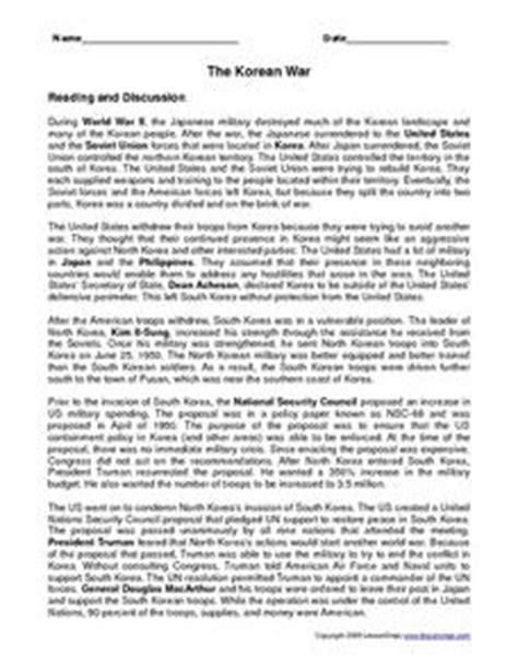 the korean war 7th 9th grade worksheet lesson planet