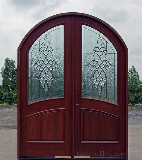 african mahogany arched double doors