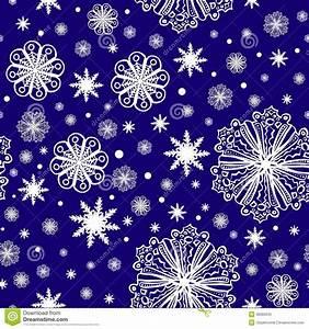 Christmas, Snowflakes, On, Dark, Blue, Seamless, Pattern, Stock, Vector