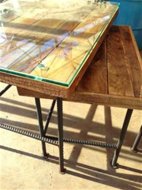 wood table  rebar legs  mike nelms  fablab