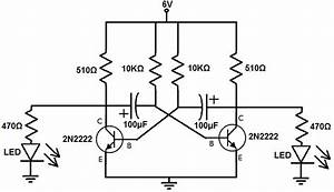 how to build an astable multivibrator circuit with transistors With circuit 2n2222