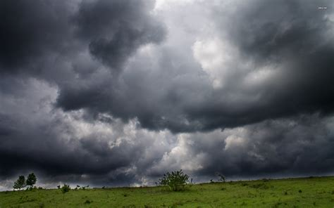 Storm Clouds Over The Field Wallpaper  Nature Wallpapers