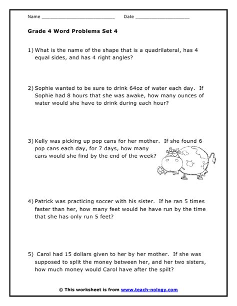 grade 4 word problems set 4