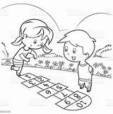 Hopscotch Playing Coloring Colorir Istock Imagens sketch template