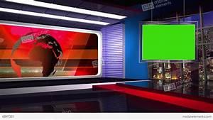 News TV Studio Set 46 Virtual Green Screen Background Loop ...