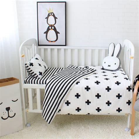 3pcs Baby Bedding Set Cotton Crib Sets Black White Stripe