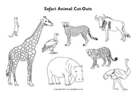 safari animal cut outs black  white sb