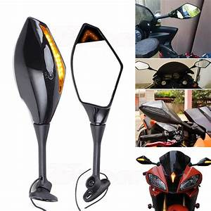 Motorcycle Led Turn Signals Racing Side Mirrors For Suzuki