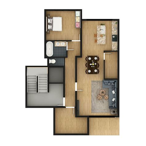 floor plan rendering  custom texture furniture