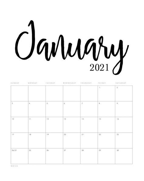 printable  minimalist calendar  cottage market