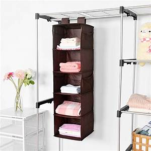 5-Shelf Hanging Closet Organizer, MaidMAX Brown Hanging