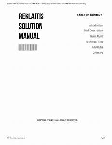 Reklaitis Solution Manual By Clarasmith2247