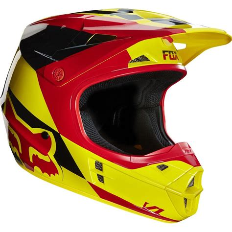 fox motocross fox v1 mako motocross mx helmet yellow red matt