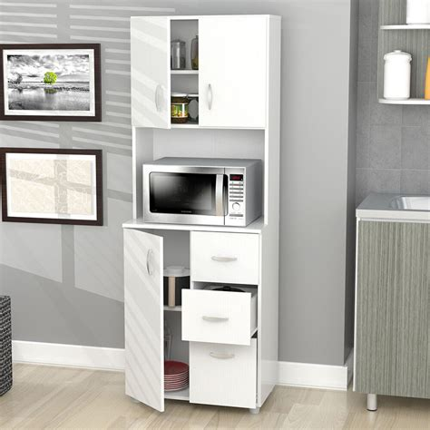 kitchen cabinet storage white microwave stand shelf  drawers island organize ebay