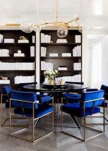 black dining table with royal blue velvet dining