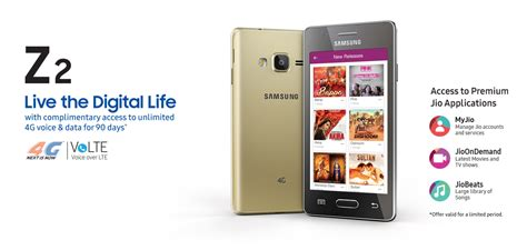 samsung z2 launched with jio preview offer of 3 months for