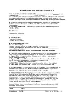 makeup artist contract form makeup hair contract fill online printable fillable