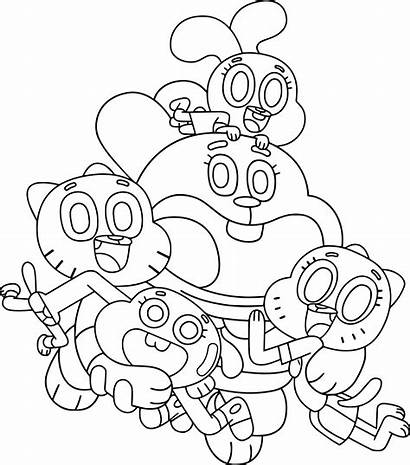 Coloring Gumball Amazing Drawings Cool Cartoon Colouring