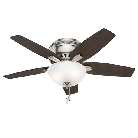 42 Hunter Low Profile Ceiling Fan In Brushed Nickel With