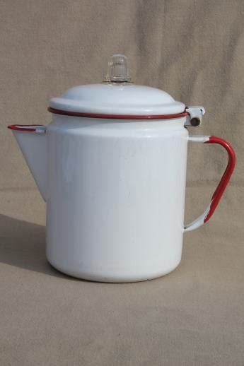 vintage red & white enamelware coffee pot, red band enamel