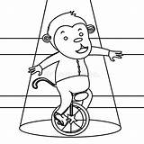 Circus Monkey Coloring Unicycle Dreamstime Elephant Illustration sketch template