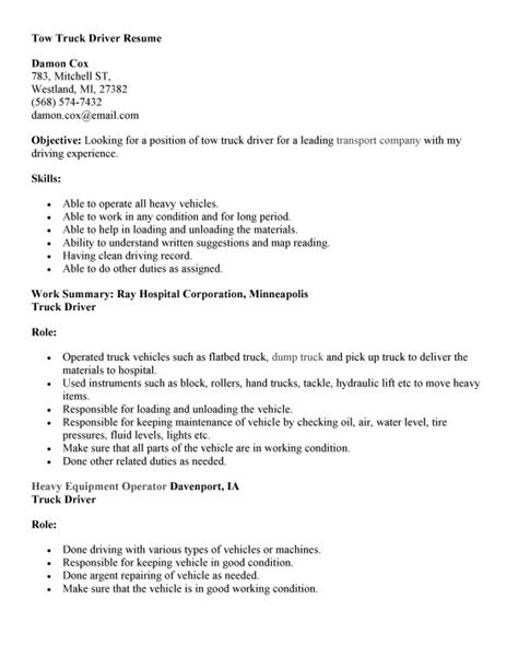 tow truck driver resume cover letter doc 8001035 cdl truck driver resume sle resume sles bizdoska