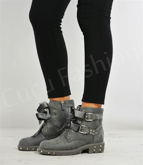 ladies short biker boots new womens ladies ankle biker boots lace up bow zip buckle