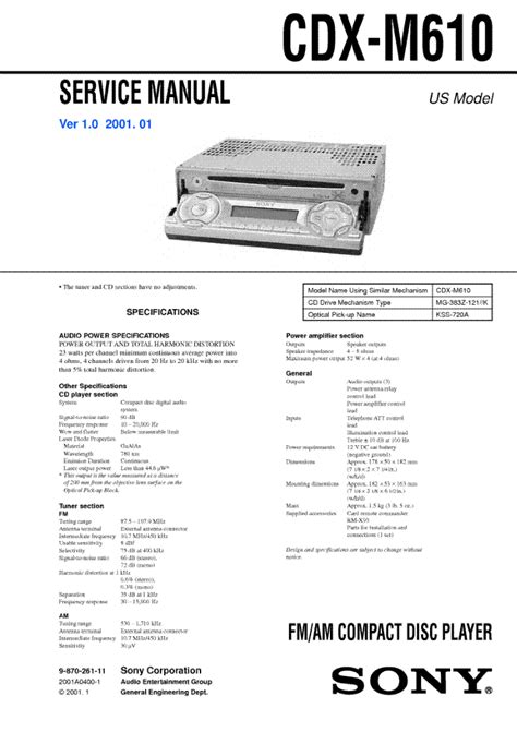 sony cdx m610 wiring diagram sony cdx m8800 wiring diagram 29 wiring diagram images