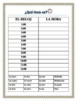 la hora time practice  spanish mi  writing