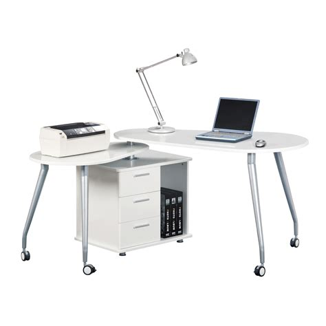 techni mobili modern rotating computer desk with storage color white ebay
