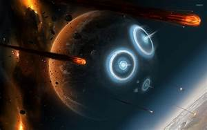 Planets hit by asteroids wallpaper - Fantasy wallpapers ...